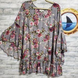 Umgee Grey Floral Bell Sleeve Mini Dress L